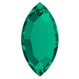 stock image of Swarovski Crystal article 2200 Navette Flat Back in emerald green colour