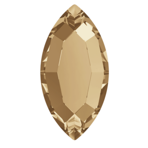 stock image of Swarovski Crystal article 2200 Navette Flat Back in Golden Shadow gold colour