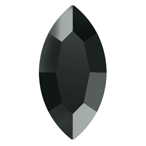 stock image of Swarovski Crystal article 2200 Navette Flat Back in Jet Hematite grey colour