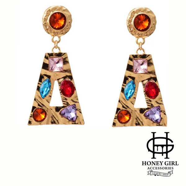 The Adina Earrings-High Quality Multicolored Rhinestone Drop Earrings