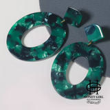 The Garden Earrings-Green Multicolored Acrylic Hoop Design Earrings