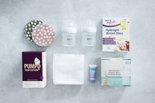 Feeding Bundle with Re-usable Breast Discs, New Edition Manual Breast Pump, 2x Philips Avent 125ml Natural Teat Bottles, Babyfirst Cloth Nappy, Lansinoh HPA Lanolin Nipple Cream, Riteaid Hydrogel Breast Discs, 100 Pack Breastmilk Storage Bags
