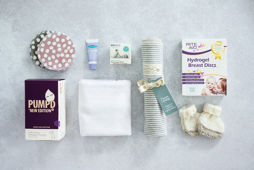 Midi Bundle with Re-usable Breast Pads, New Edition Manual Breast Pump, Lansinoh HPA Lanolin Nipple Cream, Ecostore Baby Nappy Balm, Babyfirst Cloth Nappy, Nature Baby Organic Cotton Wrap, Riteaid Hydrogel Breast Discs, Knitted Booties