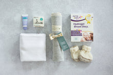 Load image into Gallery viewer, Essentials Bundle Midi with Lansinoh HPA Lanolin Nipple Cream, Ecostore Baby Nappy Balm, Babyfirst Cloth Nappy, Nature Baby Organic Cotton Wrap, Riteaid Hydrogel Breast Discs, Knitted Booties
