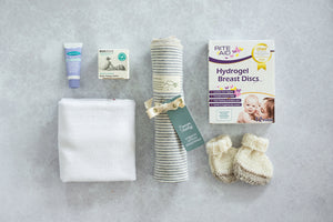 Essentials Bundle Midi with Lansinoh HPA Lanolin Nipple Cream, Ecostore Baby Nappy Balm, Babyfirst Cloth Nappy, Nature Baby Organic Cotton Wrap, Riteaid Hydrogel Breast Discs, Knitted Booties