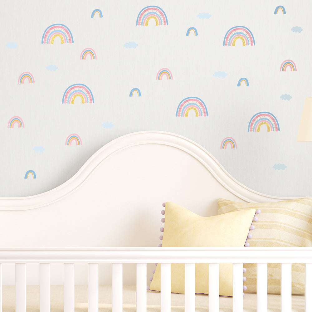 Wall Decals Nursery Stickers - Pastel Rainbows