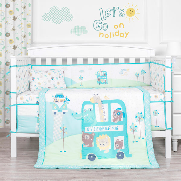 100% Cotton Holiday Bus Crib Bedding Set
