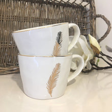 Load image into Gallery viewer, Artisan Ceramic Gold Feather Mug - White
