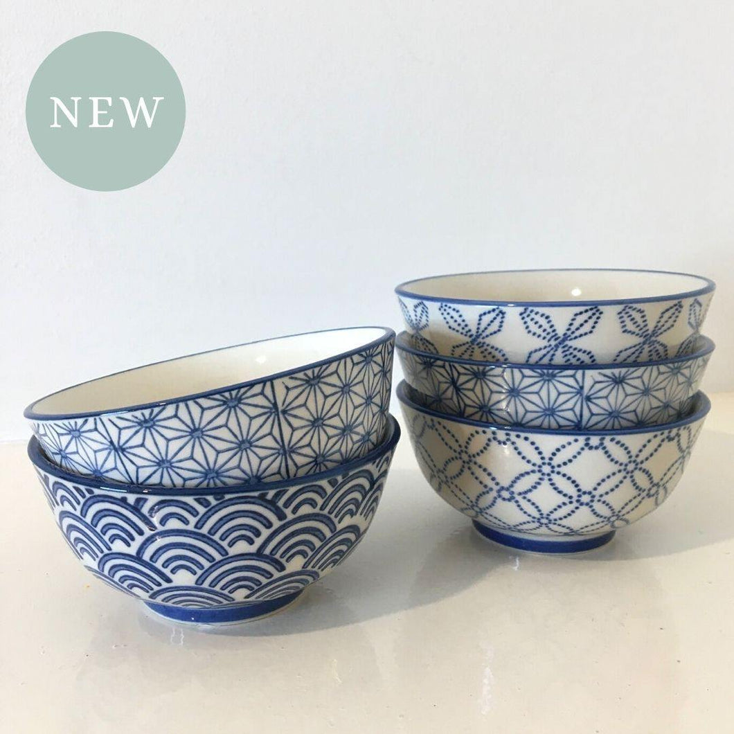Blue Pattern Bowls Assorted