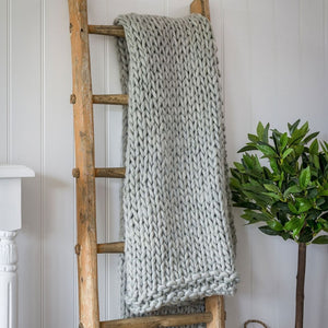 Grey Chunky Knit Throw