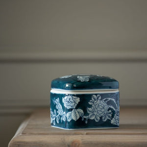 Square Lidded Pot Delft Rose
