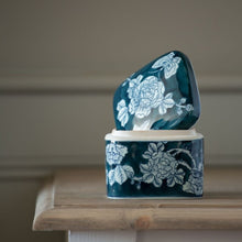 Load image into Gallery viewer, Square Lidded Pot Delft Rose