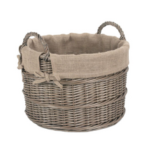 Load image into Gallery viewer, Round Hessian Lined Log Basket