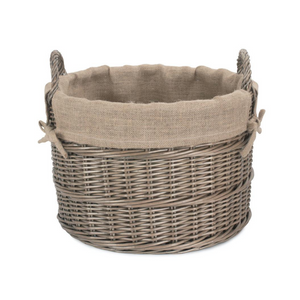 Round Hessian Lined Log Basket