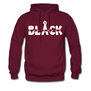Black and Proud BLM Hanes Cotton Hoodie - burgundy