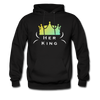 """Her Queen"" Couples Black Hanes Cotton Hoodie - black"