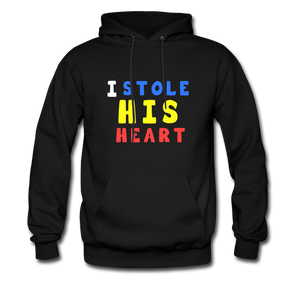 """I Stole His Heart"" Couples Black Hanes Cotton Hoodie - black"
