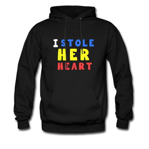 """I Stole Her Heart"" Couples Black Hanes Cotton Hoodie - black"
