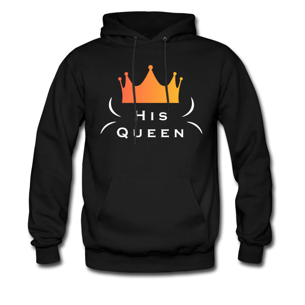 """His Queen"" Couples Black Hanes Cotton Hoodie - black"