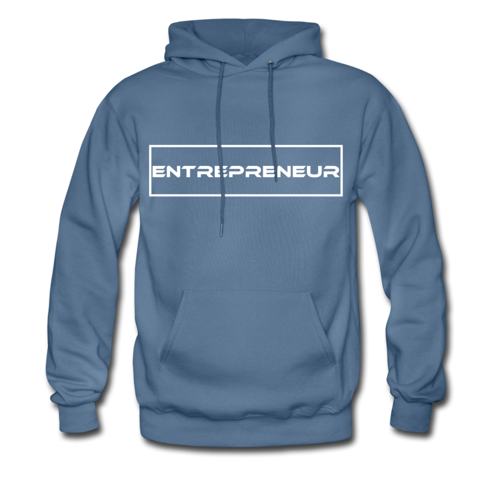 """Entrepreneur"" White Text Motivational Hanes Cotton Hoodie - denim blue"
