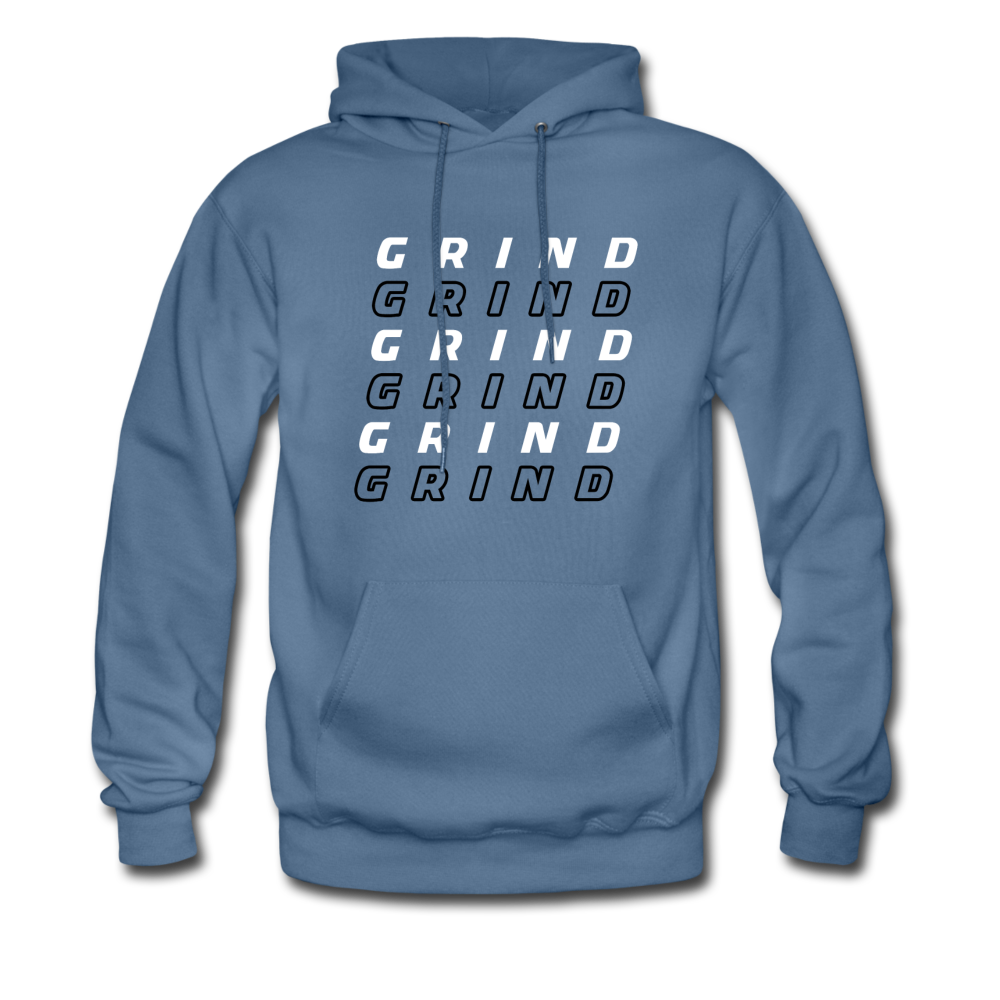 """Grind"" Motivational Hanes Cotton Hoodie - denim blue"