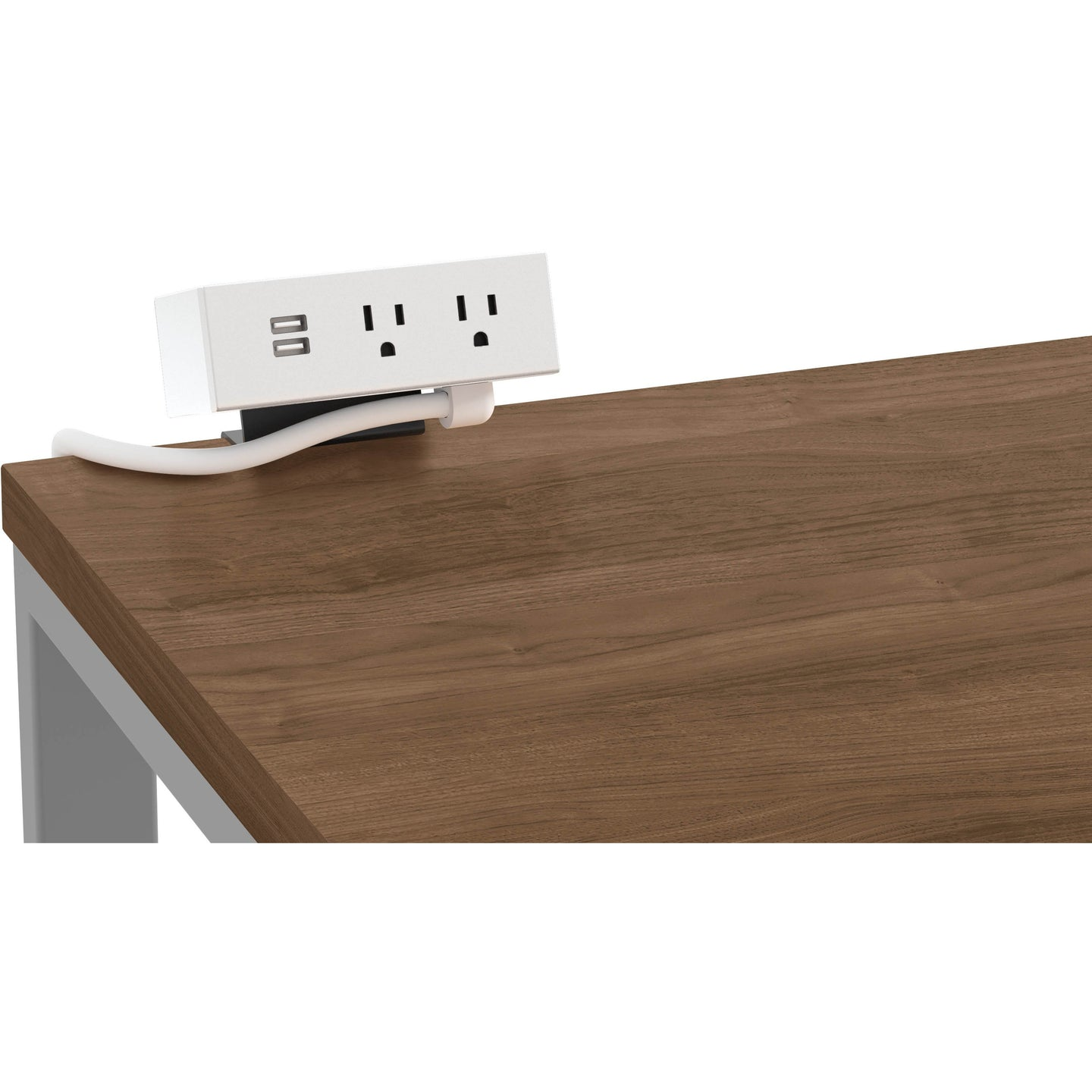 Worksurface-Mounted Power Module with 2 Receptacles and 2 USBs