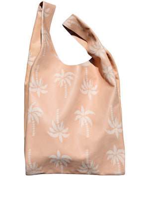 Shopping Bag 100% natural DETAILS Colour: natural Print: Palmtree Inside pocket with zipper 100% natural interior: just grab your stuff and go! DIMENSIONS Gusset 10 cm x W46 cm x H63 cmH