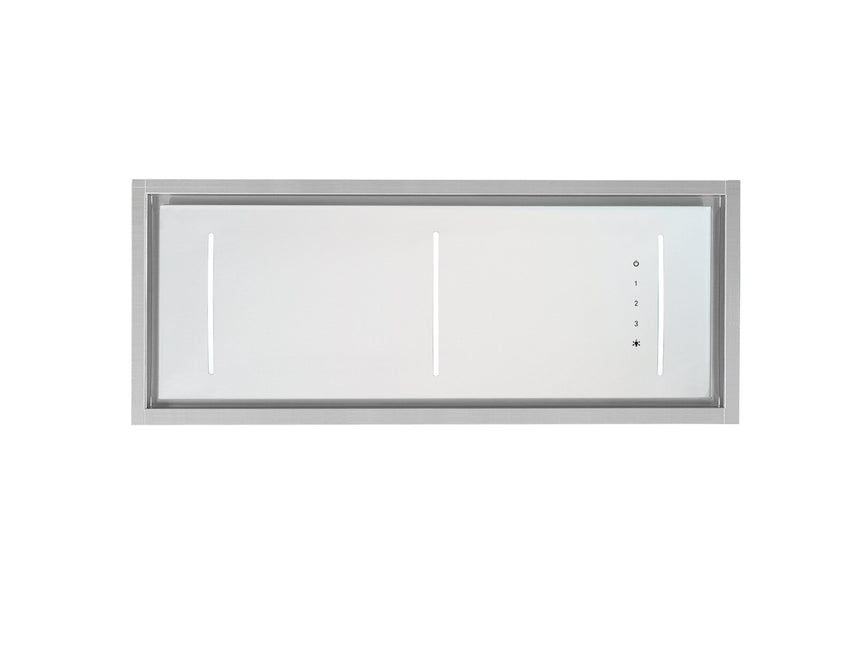 Glass & Stainless Ceiling Range Hood Extraction Fan 900mm (Black or White) - Perth Home Renovator