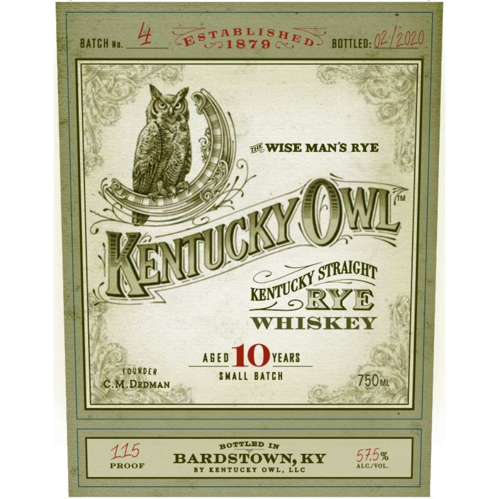 Kentucky Owl Rye 10 Year Batch #4
