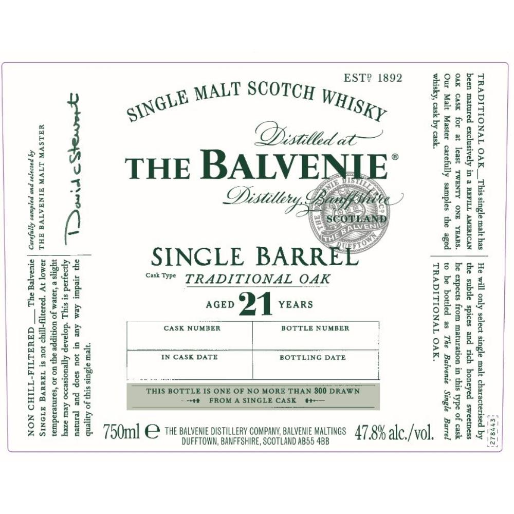 The Balvenie Single Barrel Traditional Oak 21 Year Old