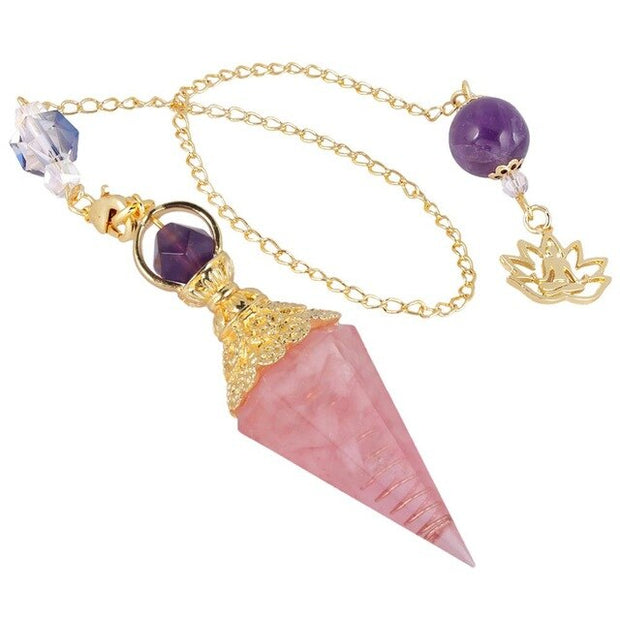 Crystal Point Pendulum with Lotus