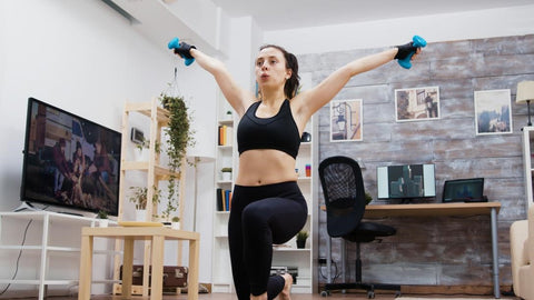 Woman-Dumbbells-Home-Workout-Stylish-Athletic-Wear