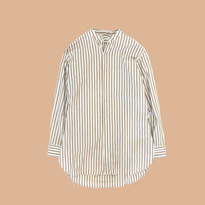 DOBBY STRIPE STAND COLLAR SHIRT