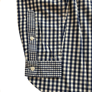 GINGHAM CHECK STAND COLLAR SHIRT