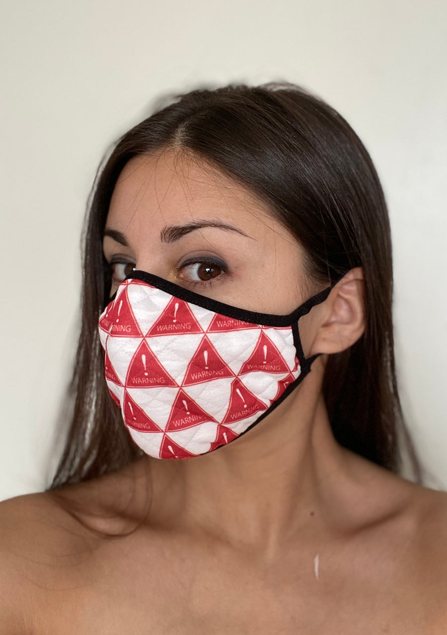 WARNING MASK RED