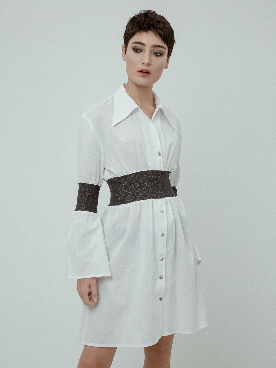 LOT 004 - SHIRT DRESS WITH LUREX RIBBING