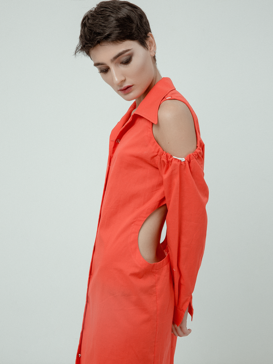 LOT 014 - RED SHIRT DRESS SS18