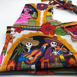 SKELETONS-Day of the dead print aprons - KazMexico