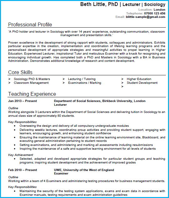 academic cv example   cv writing guide  get noticed and