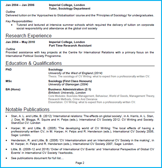 academic cv example create a winning cv for academic roles