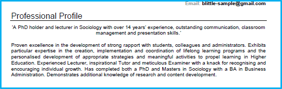 Academic CV profile