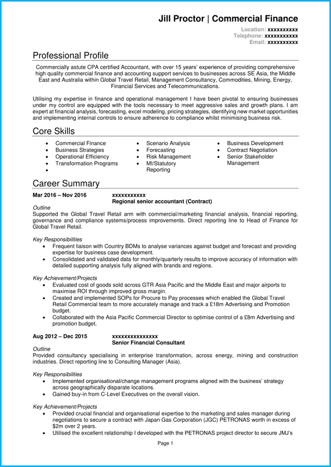 Accountant CV example page 1