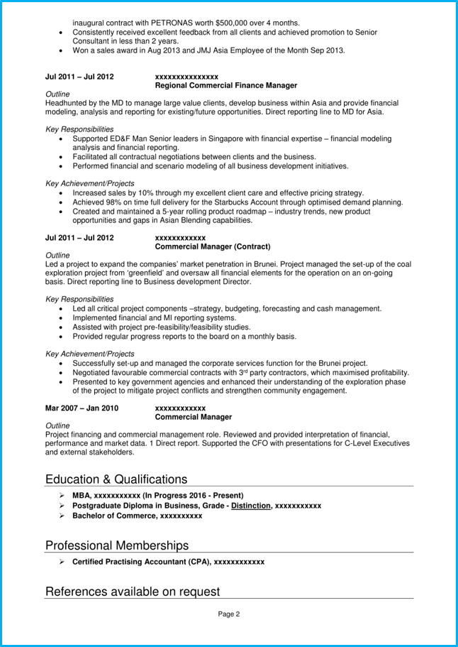 Accountant CV example page 2