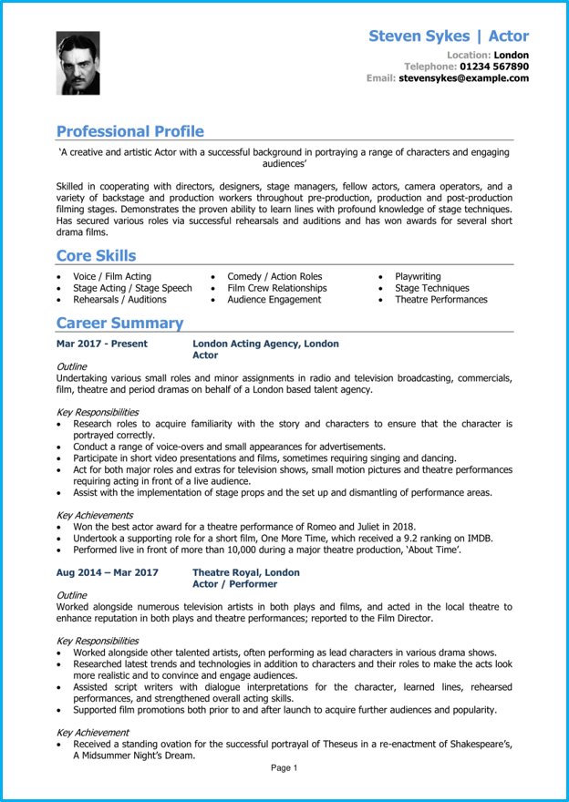 Acting CV example + CV writing guide [Land the parts you want]