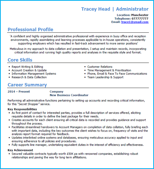 Administrator Cv Example Writing Guide And Cv Template