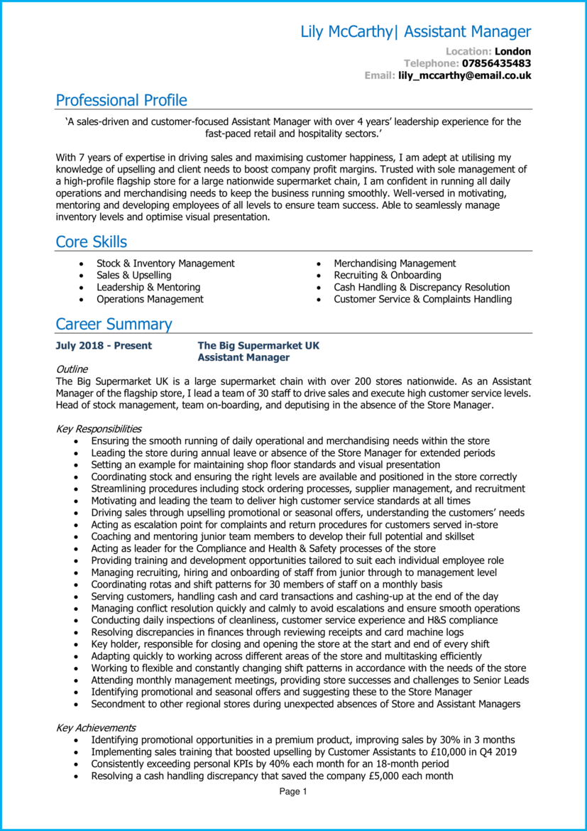 Assistant manager CV example 1