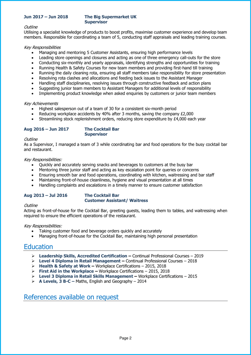 Assistant manager CV example 2