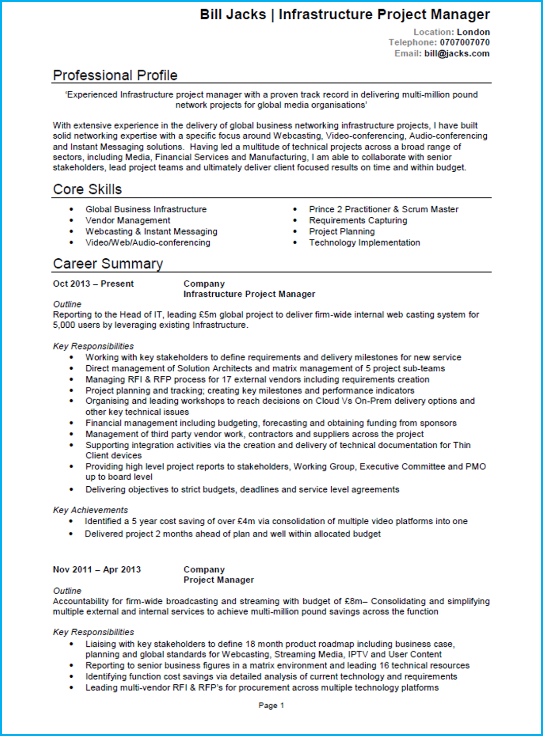 Project Manager CV template Word UK page 1