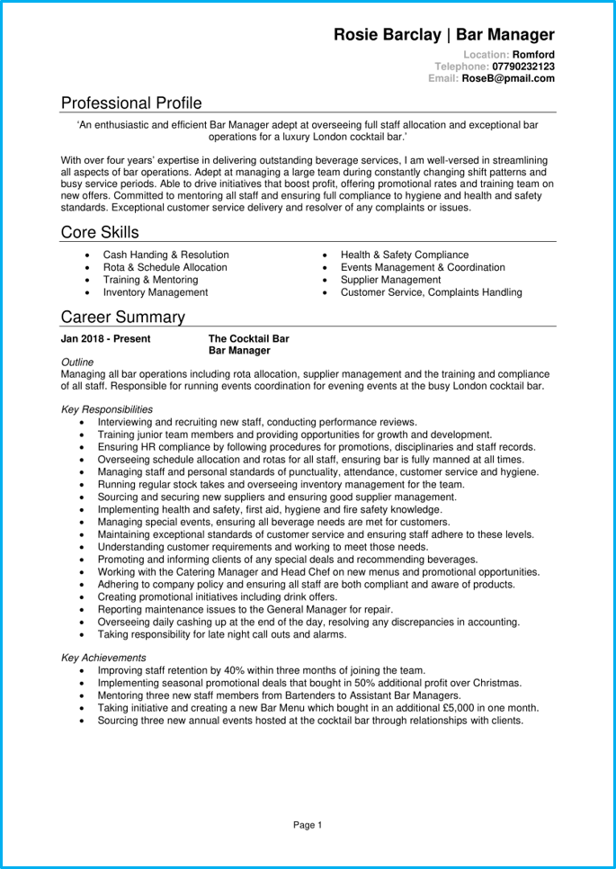 Bar manager CV page 1