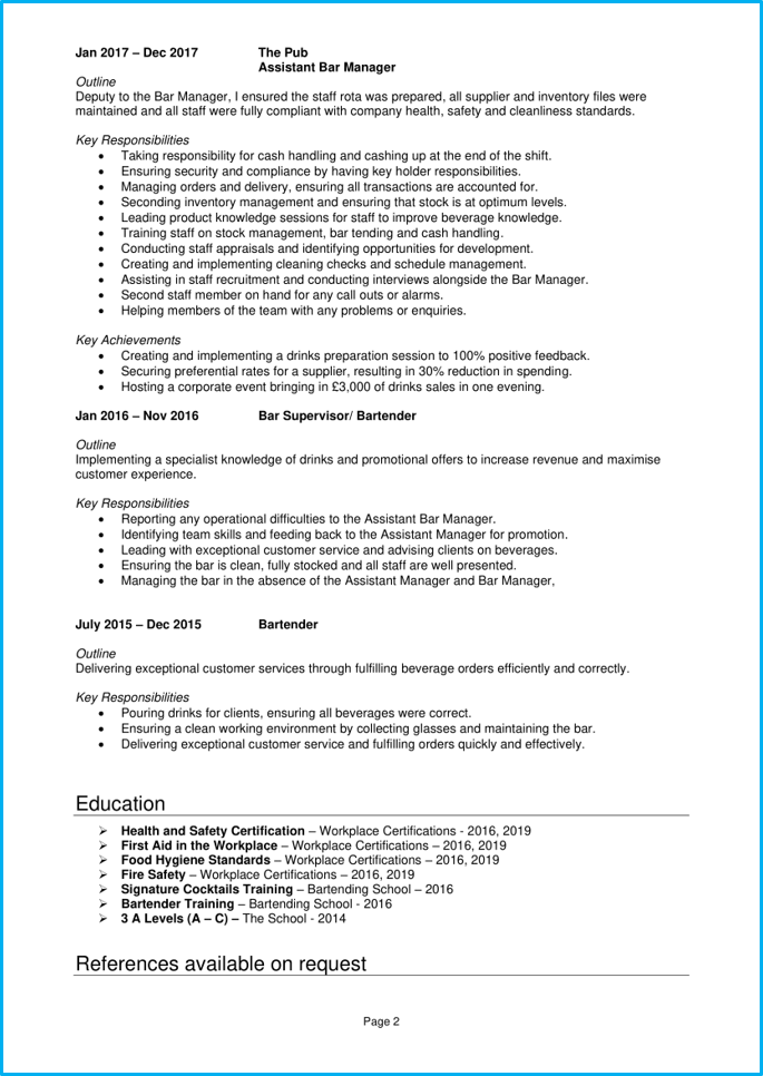 Bar manager CV page 2